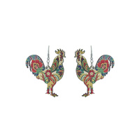 ROOSTER FLORAL WOOD EARRINGS