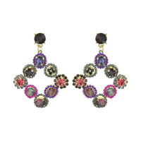 RHINESTONE AND BEAD DROP EARRING
