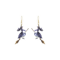 HALLOWEEN WITCH WOOD EARRING