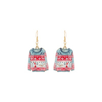 CHRISTMAS UGLY SWEATER PRINT EARRINGS