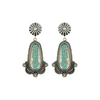 WESTERN OBLONG TURQUOISE/WHITE STONE EARRINGS