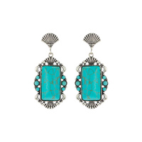 WESTERN RECTANGLE TURQUOISE STONE EARRINGS)