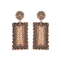 INDIAN COIN RECTANGLE DESIGN POST EARRINGS