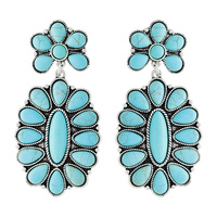 WESTERN TURQUOISE SQUASH BLOSSOM EARRINGS