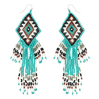WESTERN NATIVE AMERICAN SEED BEAD DANGLE EARRINGS