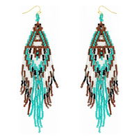 WESTERN NATIVE AMERICAN SEED BEAD FRINGE EARRINGS
