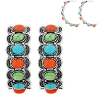 WESTERN STYLE TURQUOISE HALF CIRCLE HOOP EARRINGS