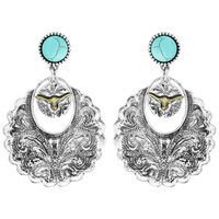 STEER SKULL WESTERN STYLE TURQUOISE DANGLE EARRINGS