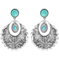 CONCHO WESTERN STYLE TURQUOISE DANGLE EARRINGS