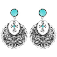 CROSS WESTERN STYLE TURQUOISE DANGLE EARRINGS