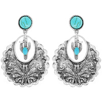 CACTUS WESTERN STYLE TURQUOISE DANGLE EARRINGS