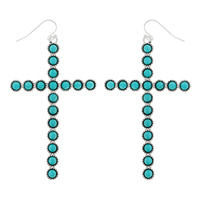 WESTERN ACRYLIC STONE EARRINGS - CROSS
