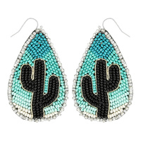 CACTUS SEED BEAD TEARDROP EARRINGS