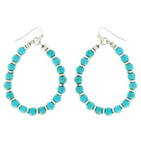WESTERN SEMI TURQUOISE TEARDROP EARRINGS
