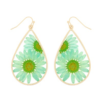 NATURAL DRIED FLOWER TEARDROP  EARRINGS RESIN FLORAL JEWELRY