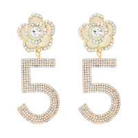 FASHION FLOWER RHINESTONE NUMBER 5 DROP EARRINGS