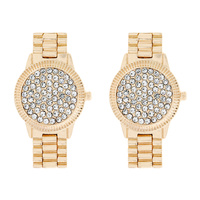 CRYSTAL RHINESTONE WRIST WATCH DROP EARRINGS