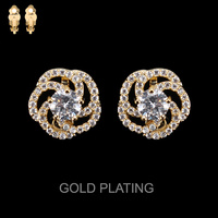 Cz Stone Flower Clip Earrings Eccz5240Gcl