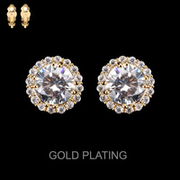Round Cz Stone Clip Stud Earrings Eccz5241Gcl