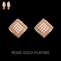 ROSE GOLD CUBIC GOLD PLATING RHOMBUS WITH PEARLS CLIP EARRIN