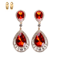 DOUBLE CIRCLE RHINESTONE CLIP EARRING