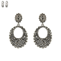 PAVE RHINESTONE CLIP ON EARRINGS