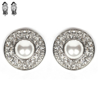 Round Pearl with Stone Clip Earrings