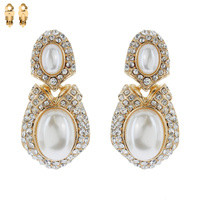 Stone With Pearl Clip Earrings