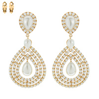 TEARDROP OUTLINE STONE CLIP EARRING