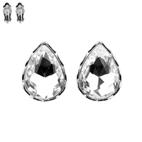 Teardrop Gem Clip Earrings