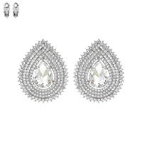 Teardrop Gem With Stones Clip Earrings Ecq21Rcl