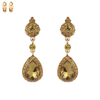 Dangly Teardop Gem With Stones Clip Earrings