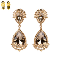 Dangly Teardrop Gem Clip Earrings