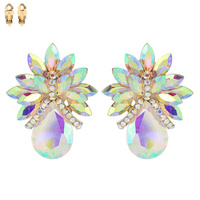 Teardrop Gem Cluster Clip Earrings