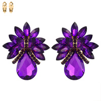 PURPLE BEAUTIFUL TEARDROP GEM EARRINGS
