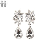 Dangly Teardrop Gem With Stone Cluster Metal Clip Earrings