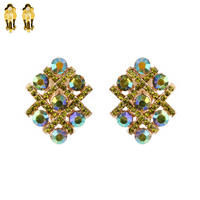 Criss Cross Stone Encrusted Lines Metal Clip Earrings