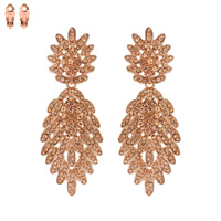 Dangly Stone Leaf Cluster Metal Clip Earrings