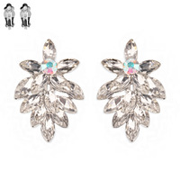 Marquise Gem Leaf Cluster Metal Clip Earrings