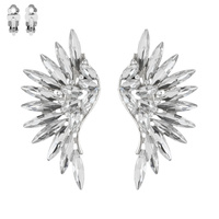Marquise Gem Cluster Angel Wings Metal Clip EARRINGS