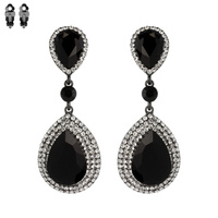 Dangly Teardrop Gem Metal Clip Earrings Ecq57Bjt