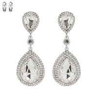 Dangly Teardrop Gem Metal Clip Earrings Ecq57Rcl