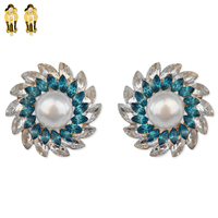 Pearl With Mariquise Gem Burst Metal Clip Earrings Ecq66Gbz