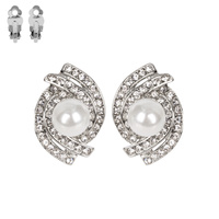 RHINESTONE AND PEARL CLIP EARRING
