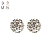 CLEAR CIRCULAR DOME STONE CLIP EARRING