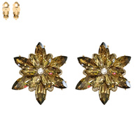 BROWN SNOWFLAKE STONE CLIP EARRING