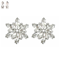 CLEAR SNOWFLAKE STONE CLIP EARRING
