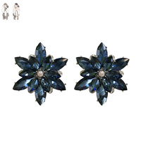NAVY BLUE SNOWFLAKE STONE CLIP EARRING