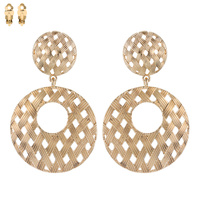 BASKET WEAVE METAL CLIP EARRING