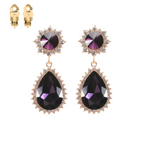 OVAL POINT POST RHINESTONE CLIP EARRING